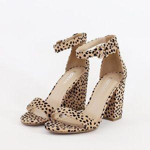 iris neutral cheetah print ankle strap sandal